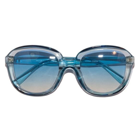 Retro 70s Disco Ombré Aqua Crystal  Sunglasses